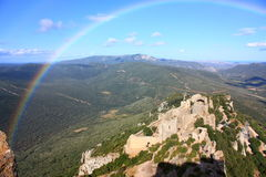 Rainbow on castle of Peyrepertuse Stock Photography