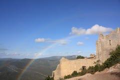 Rainbow on castle of Peyrepertuse Royalty Free Stock Photography