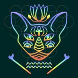 Rainbow cat face vector Sacred animal of ancient Egypt, mystical cat face with Egyptian hieroglyphic symbols Hand drawn Egyptian c Stock Photography