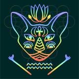 Rainbow cat face vector Sacred animal of ancient Egypt, mystical cat face with Egyptian hieroglyphic symbols Hand drawn Egyptian c. Rainbow cat face vector Stock Photography