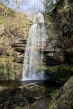 Rainbow caught in Sgwd Henrhyd; henrhyd Waterfall Royalty Free Stock Photos