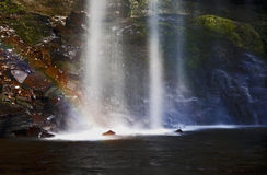 Rainbow caught in Sgwd Henrhyd; henrhyd Waterfall Royalty Free Stock Image