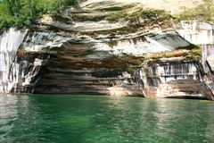 Rainbow cave at Pictured rocks stock photo