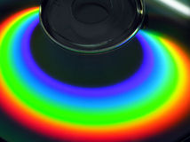 Rainbow on CD. A nice reflection from a compact disc - rainbow Stock Image