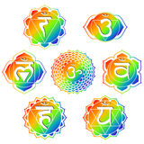 Rainbow Chakras. Set of seven rainbow color chakras Stock Images
