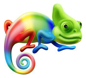 Rainbow chameleon. An illustration of a cartoon rainbow coloured chameleon Stock Photos