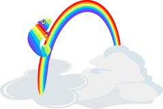 Rainbow Chameleon in the clouds. With rainbow Stock Image