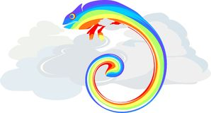 Rainbow Chameleon in clouds Stock Images