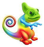 Rainbow chameleon mascot pointing. Illustration of a cartoon rainbow chameleon mascot standing and pointing Royalty Free Stock Photo