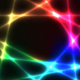 Rainbow chaotic lines on dark background - template Stock Photo
