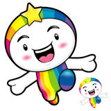 Rainbow character on Running. Dream of Fairy Character Design Se Royalty Free Stock Image