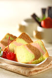 Rainbow chiffon cake. Slice of a delicious and soft chiffon cake Stock Photography