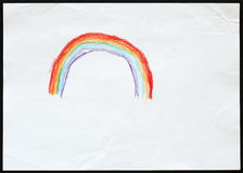 Rainbow. Child's Drawing. Royalty Free Stock Image