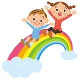 Rainbow and child Stock Photos
