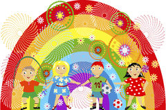 Rainbow with children Royalty Free Stock Photos