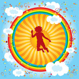 Rainbow-children-sun Royalty Free Stock Photos