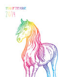 Rainbow Chinese New Year of horse 2014 isolated. Happy Chinese New Year 2014. Multicolor contemporary horse isolated over white. EPS10  file organized in layers Stock Photo