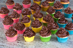 Rainbow of choclate frosted cupcakes Royalty Free Stock Image