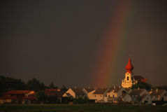 Rainbow church right view large Stock Photography
