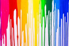 Rainbow cilors of screen print colors are dripping. In white background stock photos