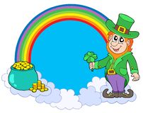Rainbow circle with leprechaun Stock Photos