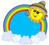 Rainbow circle with Mexican sun Royalty Free Stock Photos