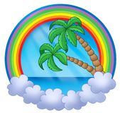 Rainbow circle with palm trees Stock Images