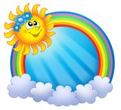 Rainbow circle with sun and clouds. Color illustration Stock Photo