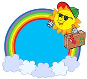 Rainbow circle with sun traveller. Vector illustration stock illustration