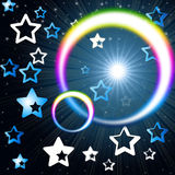 Rainbow Circles Background Means Glowing Star And Stars Royalty Free Stock Photos
