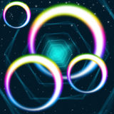 Rainbow Circles Background Means Hexagons Round And Colors Stock Image