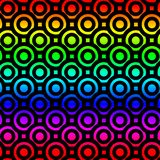 Rainbow Circles Donuts Seamless Pattern. Colorful spectrum bold circles in black. Background seamless pattern in rainbow colors Royalty Free Stock Images