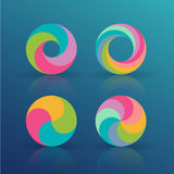 Rainbow circles set. Abstract rainbow circles vector set for logos and icons stock illustration