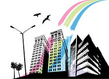 Rainbow city. Abstract style rainbow city vector Stock Photos