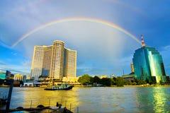 Rainbow On The City. Rainbow on Chaophaya River, Bangkok, Thailand Royalty Free Stock Image