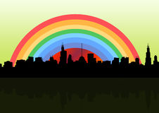 Rainbow city. Silhouette cityscape in rainbow city Stock Image