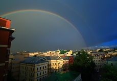 Rainbow in the city. Beautiful Moscow summer rainbow, rainbow in the city Stock Image