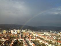 Rainbow in the city of Bratislava Royalty Free Stock Photos