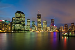 Rainbow City Brisbane. A View of Brisbane River and City just after sunset from Kangaroo Point near Thornton Street Royalty Free Stock Image