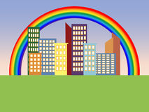 Rainbow in the city. The city is colorful colors on the rainbow background stock illustration