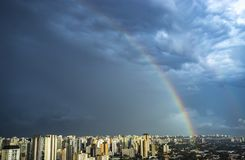 Rainbow in the city. Sao Paulo city, Brazil. South America royalty free stock photos