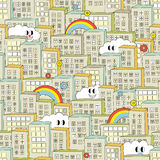 Rainbow in the city seamless pattern. Royalty Free Stock Photo
