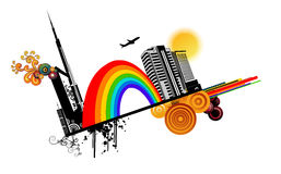 Rainbow in a city vector Royalty Free Stock Photography