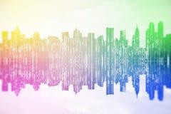 Rainbow cityscape Stock Photography