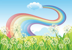 A rainbow in the clear blue sky Royalty Free Stock Images