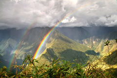 A rainbow close to Incas city of Machu Pichu in Cusco, Peru Stock Image
