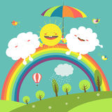 Rainbow, cloud and happy sun in the sky Royalty Free Stock Photos