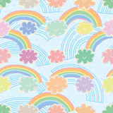 Rainbow cloud pastel colorful seamless pattern stock illustration