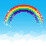Rainbow cloud and sky background 002. Rainbow cloud and blue sky background vector illustration Royalty Free Illustration