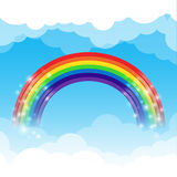 Rainbow cloud and sky background. Rainbow cloud and blue sky background vector illustration Stock Illustration
